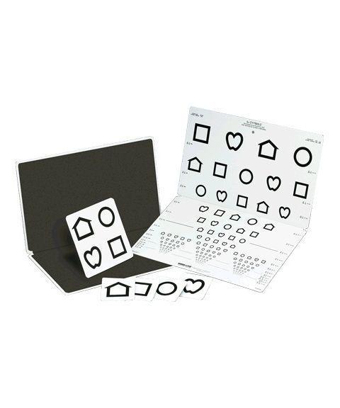 LEA synstest med symboler, brettbar tavle, 15 linjer, 3 meter