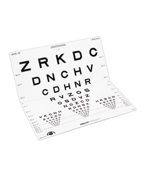 LEA synstest med bokstaver, brettbar tavle, 15 linjer, 3 meter