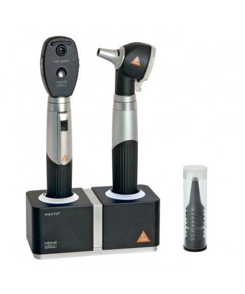 Heine mini 3000 otoskop + oftalmoskop med ladestasjon (fiber, halogen, 3X)