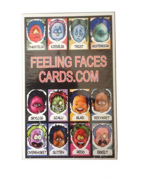 Feeling faces, kort med ansiktsuttrykk, norsk tekst